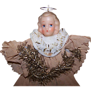Vintage CHRISTMAS Ornament - An Angel of Waxy Plastic, Crepe Paper and Gold Tinsel