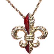 ANTIQUE VICTORIAN 14K Gold & Red Enamel Pendant - French Fleur de Lis