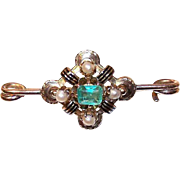 ANTIQUE VICTORIAN 15K Gold, .50 CT Natural Emerald and Pearl Pin