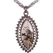 ANTIQUE FRENCH Silver & Eglomise Glass Religious Pendant - Saint Bruno & Virgin Mary