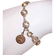 Vintage FRENCH SILVER Religious Bracelet or Dizainier - Rose Links with Saint Therese of Lisieux Charm