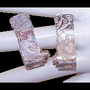 Vintage STERLING SILVER Earrings - Seaside Design by BIRKS ESTY - Pierced Earrings
