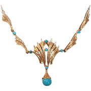 ITALIAN Modernist 18K Gold & Persian Turquoise Necklace