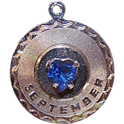 Vintage STERLING SILVER Charm - September Birthday - Blue Rhinestone