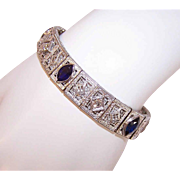 "ART DECO 14K Gold Filigree Bracelet with Diamonds & Blue Sapphires - 6-1/8"" Long - 3.50CT TW"