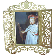 ANTIQUE VICTORIAN Gilt Bronze Frame (Doors Open to Reveal Image) by Marion, London
