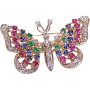 EN TREMBLANT! Vintage 14K Gold & 2.19CT TW Gemstone Butterfly Pin or Pendant (Double Duty)