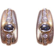 Stunning 18K Gold, Diamond & Sapphire Earrings - Posts with Omega Backs