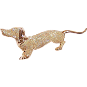 Vintage 14K Gold & Diamond Pin - Dachshund with Long Tail - Weiner Dog