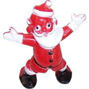 Vintage Hard Plastic Christmas Ornament - Stand Up Santa Candy Container