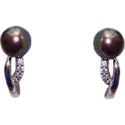 Estate 14K Gold and 7.5mm BLACK PEARL Earrings with Diamond Accents - For Pierced Ears