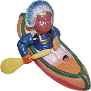 Vintage MADE IN JAPAN Celluloid Toy - Indian in a Canoe
