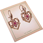 OLD STORE STOCK - Vintage 14K Gold Drop Earrings - Hearts with Florals and Rubies