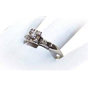 Retro Modern 14K Gold Diamond Engagement Ring - .10CT Diamond Solitaire with .02CT TW Shoulder Diamonds