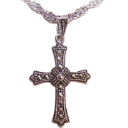 Vintage STERLING SILVER Cross Pendant Studded with Marcasites