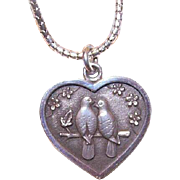 Two Turtle Doves CHRISTMAS Sterling Silver Heart Pendant by Kurt Morrison