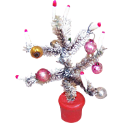 1950s MADE IN JAPAN Christmas Tree - Bottle Brush with Flocking and Red Base