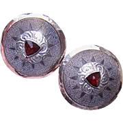 Vintage STERLING SILVER Earrings by Tabra - Large Rounds with Garnets - 14K Gold Posts
