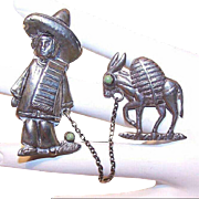 Mexican STERLING SILVER Pin - 2 Part Pin - Man with his Burro - Gent with His Donkey
