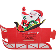 Vintage Cardboard CHRISTMAS Savings Bank with Santa Graphics - First National Bank of St. Charles