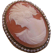 Vintage ITALIAN Shell Cameo Pin or Pendant - Sterling Silver, Glass Pearl & Cornelian Shell