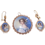 Vintage 14K Gold and Hand Painted PORTRAIT MINIATURE Set - Pendant/Pin and Earrings