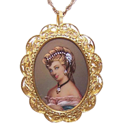Vintage ITALIAN 18K Gold Pendant or Pin - Hand Painted Portrait Miniature with Diamond Accent