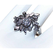 Lovely RETRO MODERN 14K Gold Cocktail Ring - White Gold with .71CT TW Diamonds