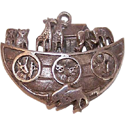 Vintage STERLING SILVER Charm or Pendant - Noah's Ark with Animals