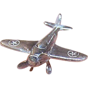 Vintage STERLING SILVER Charm - Single Propeller Plane
