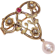 French ART NOUVEAU 18K Gold Filled Pin - Lovely Floral Design by ORIA