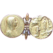 French ART NOUVEAU 18K Gold Filled Religious Pin - Saint Bernadette & the Virgin Mary at Lourdes