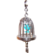 Vintage Silver Tone Metal Charm by MONET - Bird in a Cage - Bird Cage