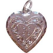 Vintage STERLING SILVER Charm by Beau - Heart with Engraved Initial K
