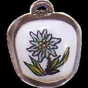 Vintage 800 SILVER Charm - Bell Charm - Edelweiss - European Souvenir Charm - Enamel Charm