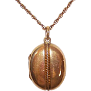 ANTIQUE VICTORIAN 18K Gold Locket - Oval Pendant - Etruscan Revival with Wirework