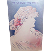 C.1900 Unused ART NOUVEAU Postcard - To  My Own True Love - Lovely Lady in Gray & Pink