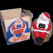 C.1950 Painted Tin Savings Bank - Christmas Bank - Santa Claus Bank - With Original Box