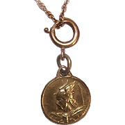 Vintage FRENCH Gold Filled Medal or Charm or Pendant - Vercingetorix - Warrior Viking