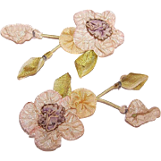 ANTIQUE FRENCH Ribbon Applique -  2-Part Spray of Florals - Cream, Yellow & Pale Purple