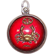 Vintage STERLING SILVER Charm - Cancer the Crab - Zodiac Sign - Bubble Charm