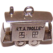 Vintage STERLING SILVER Charm - Mechanical Charm - NTA Trolley Car