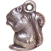 Vintage STERLING SILVER Charm - Squirrel