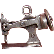 Vintage STERLING SILVER Charm - Mechanical Sewing Machine