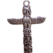 Vintage STERLING SILVER Charm - Pacific Northwest Totem Pole