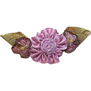 ANTIQUE FRENCH Ribbonwork - Lavender Center with Purple Ombre Side Florals