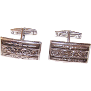 Vintage RETRO MODERN Cufflinks - Sterling Silver, Etched Fronts