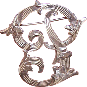Vintage MEXICAN Sterling Silver Pin - Nicely Engraved Initial P