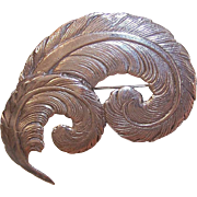 Vintage STERLING SILVER Pin - Large, Double Curled Feather