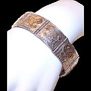 Vintage Sterling Silver Link Bracelet - Mexican, 9K Gold Etched Top